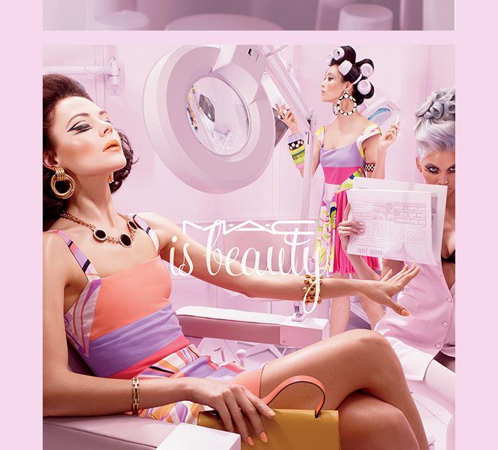 Kinga Rajzak for MAC is Beauty Campaign 2015 by fashion photographer Miles Aldridge MUA, Val Garland and hair stylist Malcolm Edwards via bthings.me