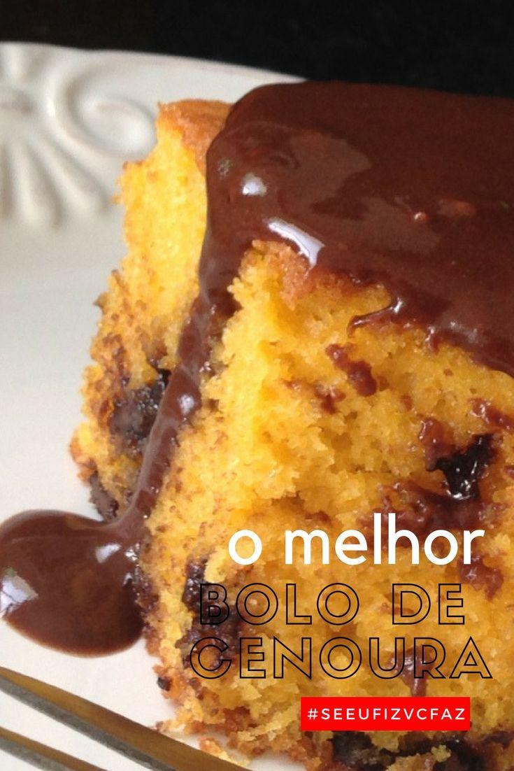 Bolo De Cenoura Com Gotas De Chocolate E Cobertura De Ganache De