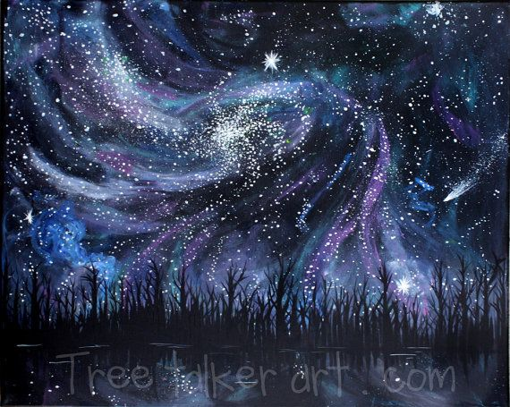 Galaxy Painting - Space Painting - Outer Space - Trees - Large Painting