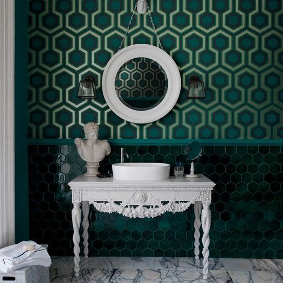 Blue bathroom | Colourful bathroom ideas | housetohome.co.uk Pattern is similar to the carpet from The Overlook Hotel in The Shining!
