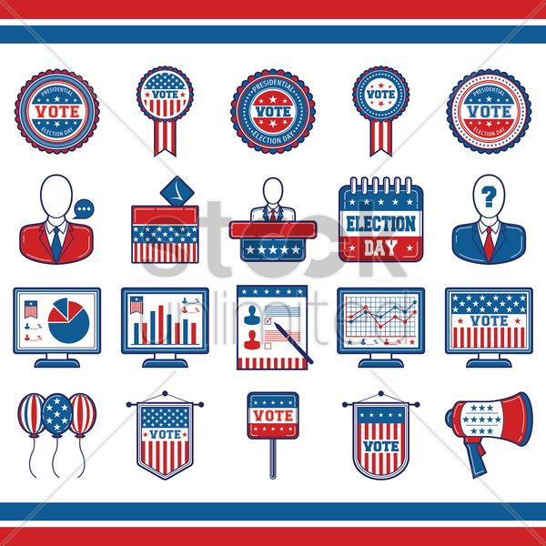 collection of usa election icons vector graphic
