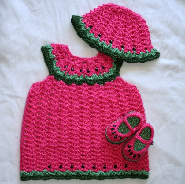 Free Crochet Watermelon Dress Pattern : 26 best images about Baby Dress, Hat & Booties on ...