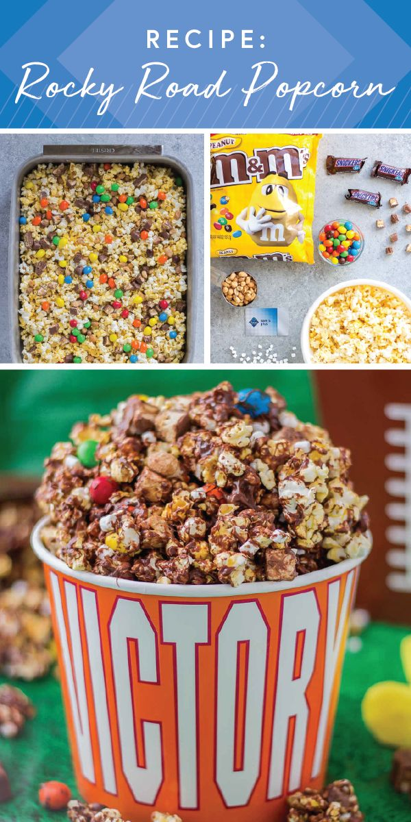Whip up a sweet snack for game day with this recipe for Rocky Road Popcorn. Made using M&M'S® Peanut Chocolate Candy and SNICKERS® Fun Size® Chocolate Bars, this colorful dessert mix is sure to be a touchdown with football fans everywhere. And getting ready for your homegating celebration is easier when you pick up everything you need at Sam's Club. #ad