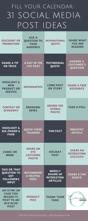 31 days worth of social media post ideas