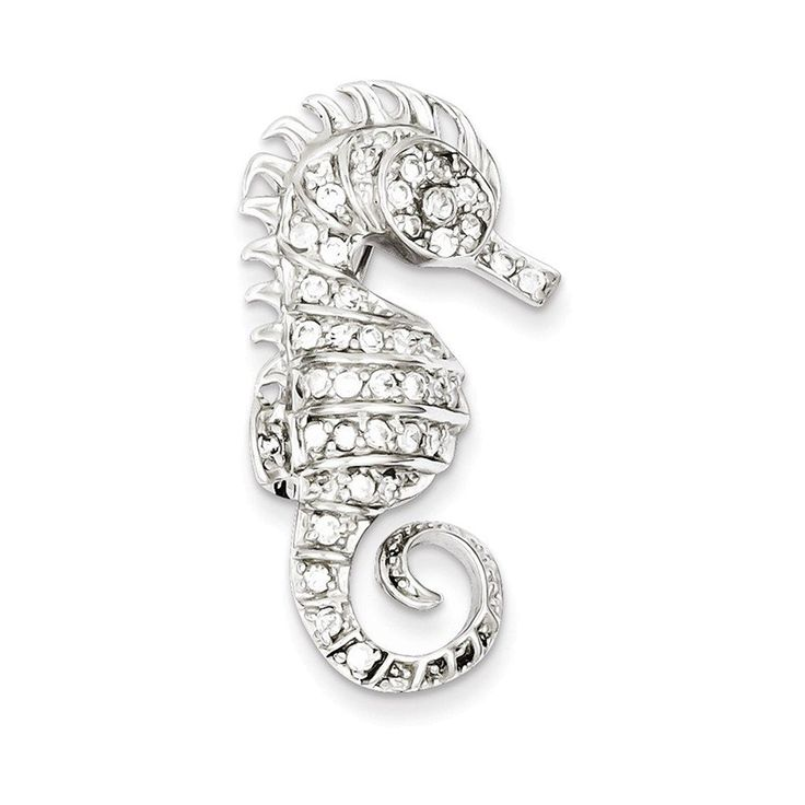 Sterling Silver Rhodium-plated CZ Seahorse Pin ** You can get additional details at the image link. (This is an Amazon Affiliate link and I receive a commission for the sales)