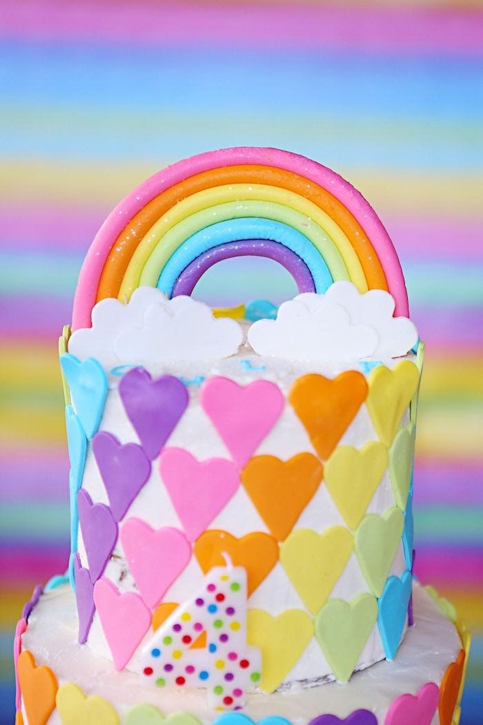 Rainbow Cake Top From A Rainbow Heart Birthday Party On