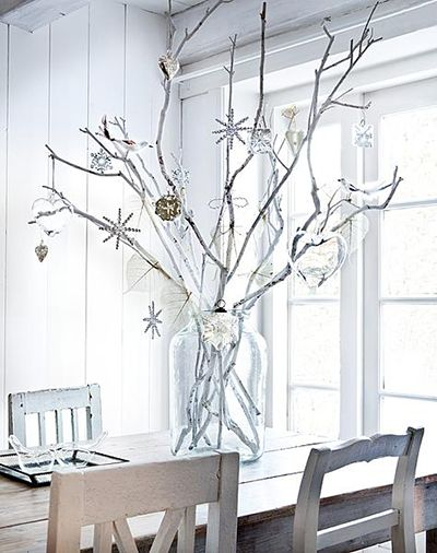 White painted branches with snowflake ornaments