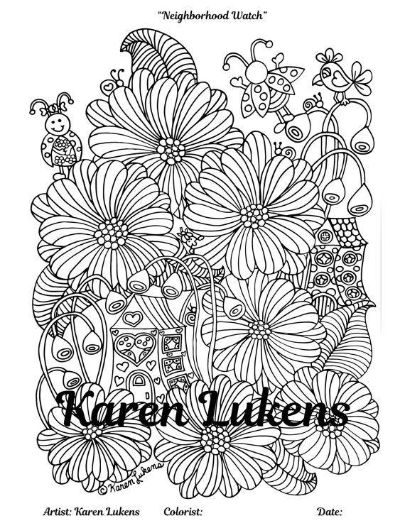 neighborhood watch 1 adult coloring book page printable instant download karen lukens