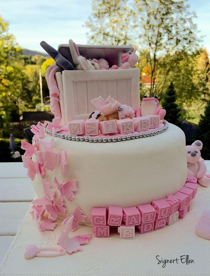 Rosa baby jente leker Rosa dåpskake  Girl Christening Cake Baby pink