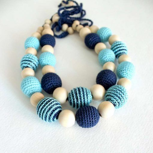 Summer Crochet Breastfeeding Necklace, Nursing necklace Blue turquoise, mom&baby, new mom