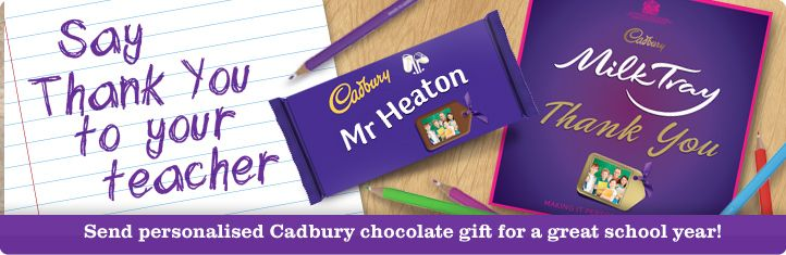 Say Thank you with a Cadbury chocolate gift! Great personalised chocolate bars and make-your-own hampers!