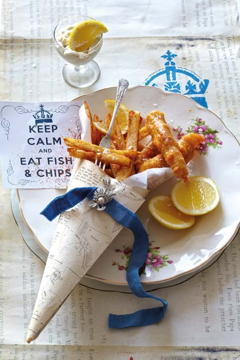 Fish in beer batter with tandoori spiced chips