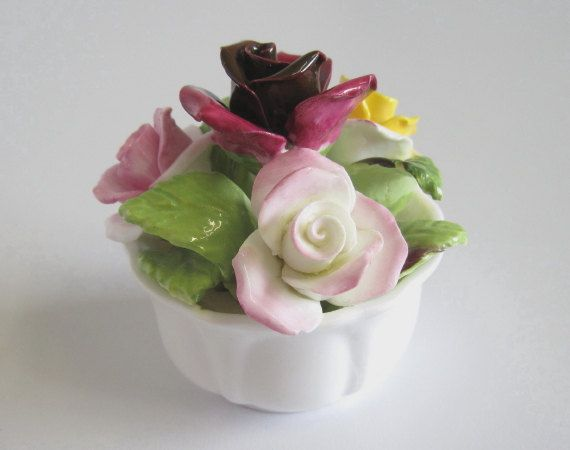 Vintage Coalport Fine Bone China Rose Posy In Bowl