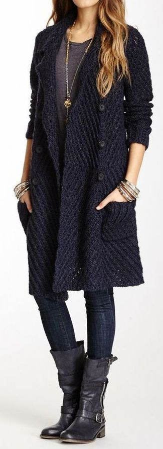 Women's Navy Knit Cardigan, Charcoal Crew-neck T-shirt, Black Skinny Jeans, Black Leather Knee High Boots