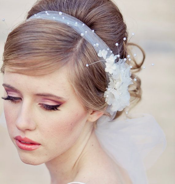 Wedding hair Veil headband tie of net pearls and by BeSomethingNew, $110.00