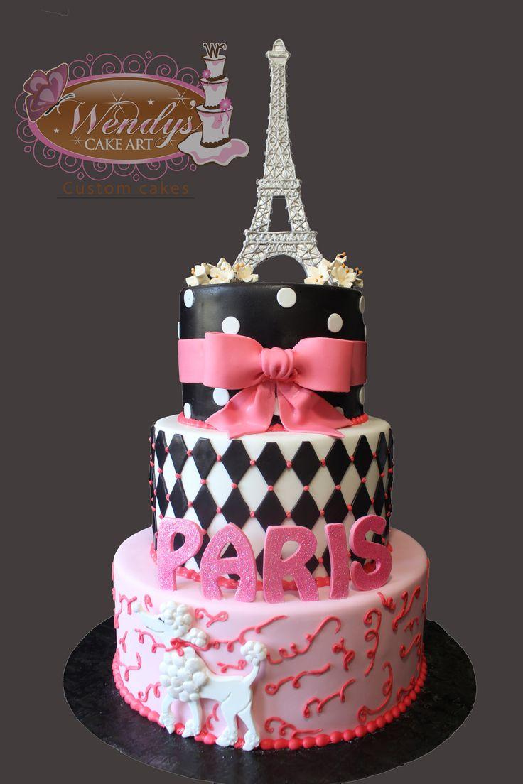 Paris Theme Cake From Wendyscakeart.com