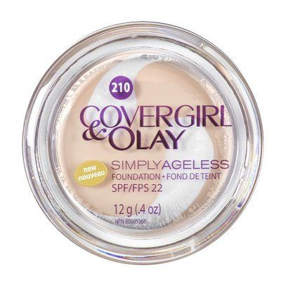 """CoverGirl Simply Ageless Foundation- """"Airbrushed perfection when applied lightly with a flat top brush!"""" I wear shade 215."""
