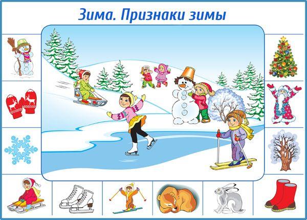 Плакат для дошкольников. Зима. Признаки зимы