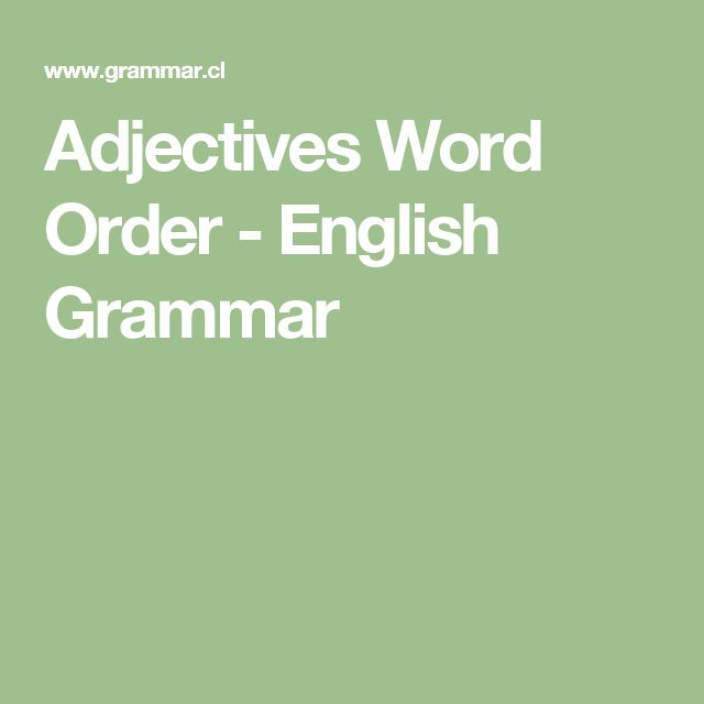 Adjectives Word Order - English Grammar