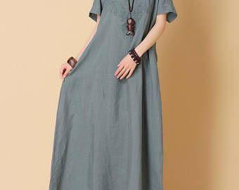 women summer wear loose maxi dress Cotton and linen red long