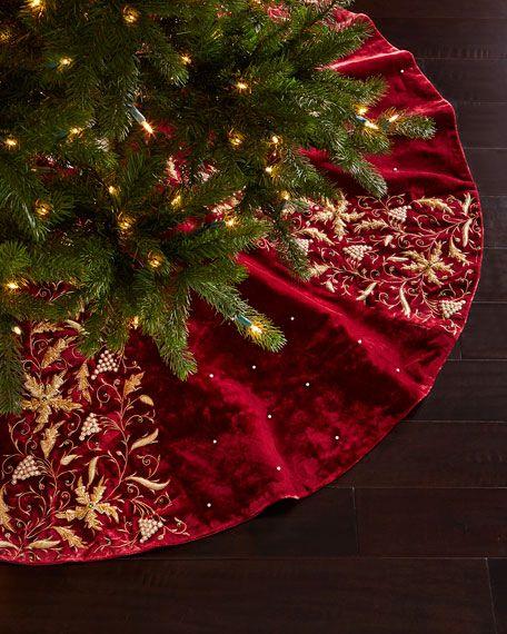 Sudha Pennathur Burgundy Velvet Christmas Tree Skirt Z