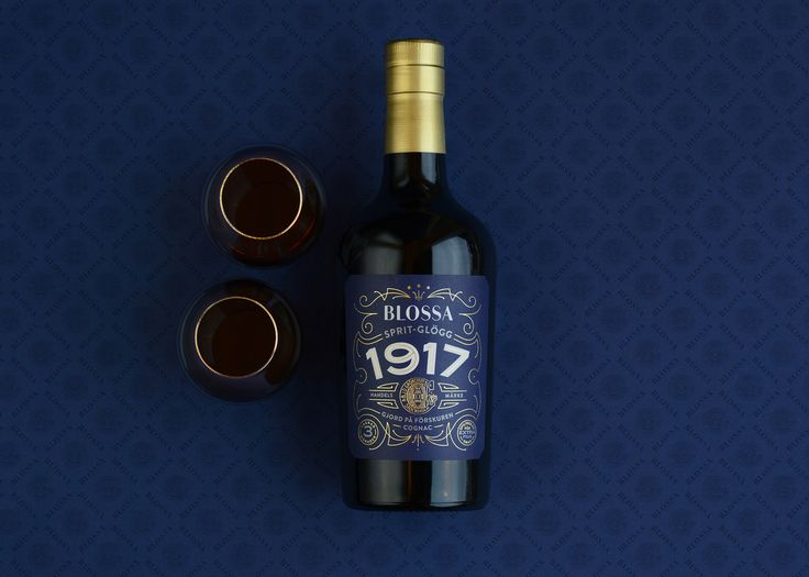 glögg. cognac. packaging design. packaging. mulled wine. Blossa 1917