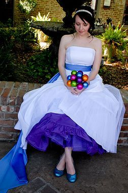 Add just a little color here and there!  Petticoat, sash, and shoes...