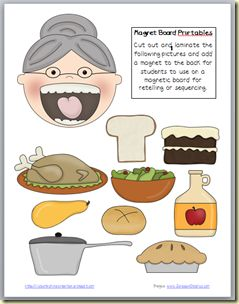 I know an old lady who swallow a pie!  These can be done by:  cutting out and adding a magnet for magnet board.  Laminating and adding velcro for flannel board  OR traced onto white flannel for pieces.    :)))
