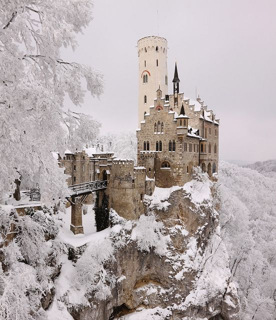 Snow in Lichtenstein Castle, Honau, Germany. This reminds me of the castle in Beauty and the Beast!!!