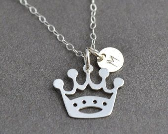 Check out Princess Necklace, Initial Crown Necklace, Silver Crown Necklace, Gift for Daughter, Crown Charm, Custom Initial Necklace on malizbijoux