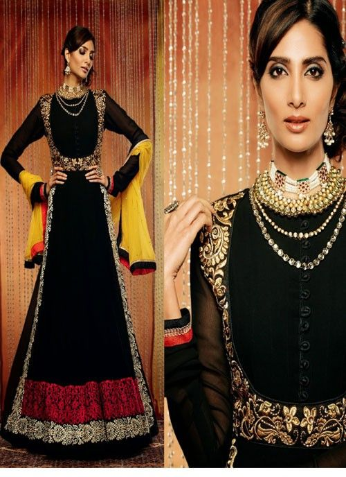 Attractive Look #Black Georgette Based #Suit With #Embroidery Work