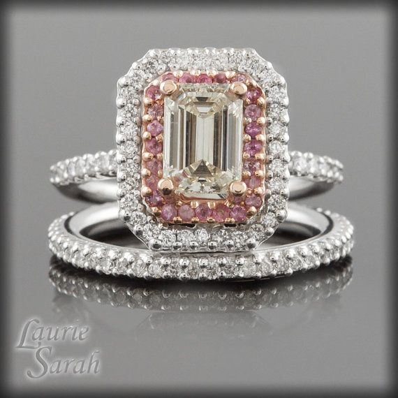 Emerald Cut Diamond and Pink Sapphire Double Halo Engagement Ring and Diamond
