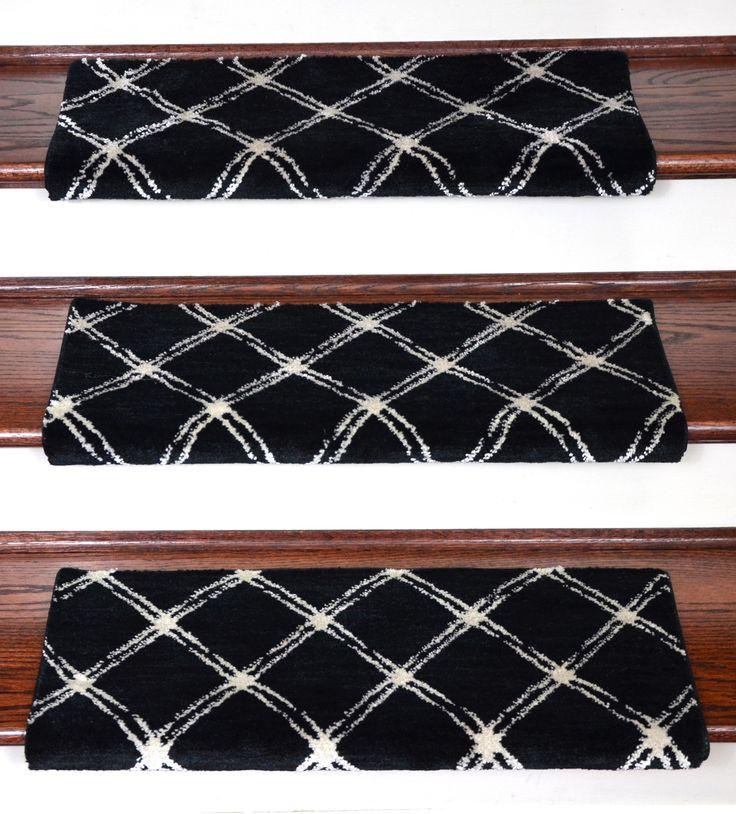 Dean Premium Pet Friendly Tape and Adhesive Free Non-Slip Bullnose Nylon Carpet Stair Treads - Brushed Lattice Onyx (3) - Dean Stair Treads