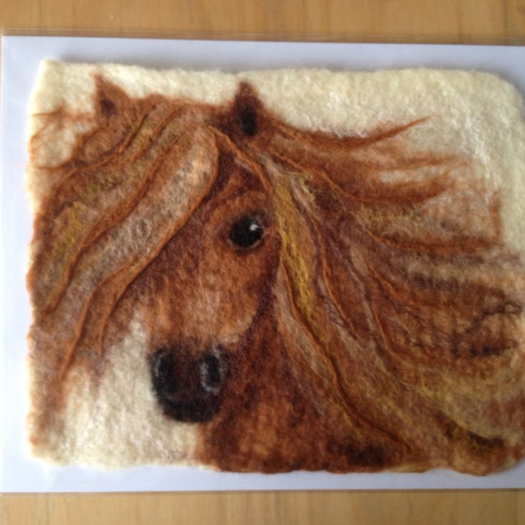Picture painted wool felted wet