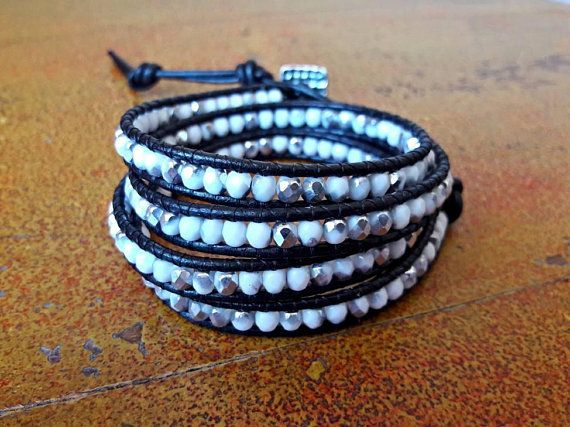 Bracciale in cuoio bianco acciaio e nero // Bracciale donna 4 giri // Bracciale Boho // Bracciale di perline