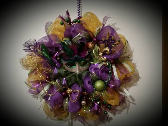 Festive deco poly mesh Mardi Gras door wall by VineonthePorch only $60! Hurry and order while supplies last!!
