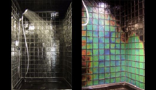 Northern lights heat sensitive tiles by moving color Temperature sensitive glass