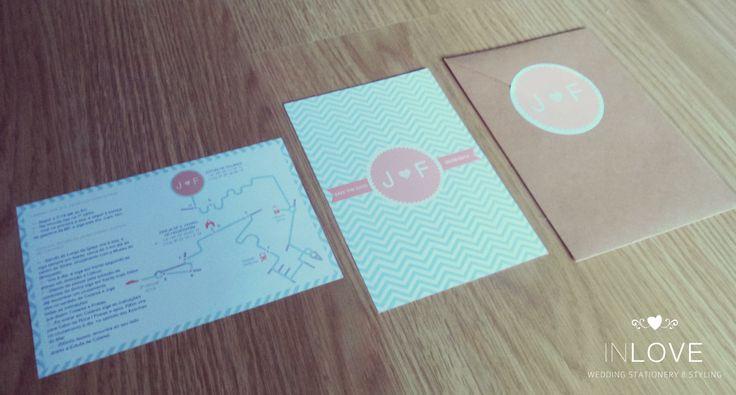 { J & F ZigZag Invitations } monofolha 10 x 15cm /// croqui 10 x 15cm /// envelope c/ etiqueta circular