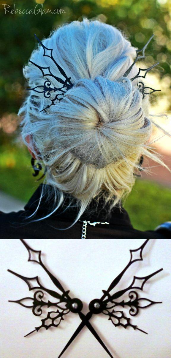 Gorgeous, big, black hair pin things.