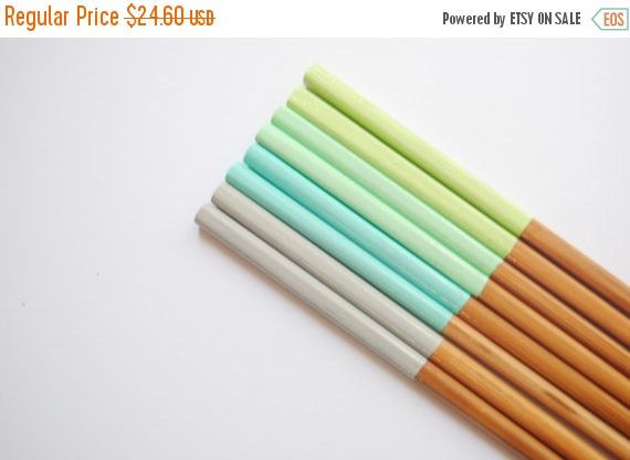 15% OFF SPRING SALE Sea Urchin >> 4 Pairs of Paint Dipped Rustic Bamboo Chopsticks // Green Mint Blue Grey by storiebrooke on Etsy https://www.etsy.com/uk/listing/152770393/15-off-spring-sale-sea-urchin-4-pairs-of