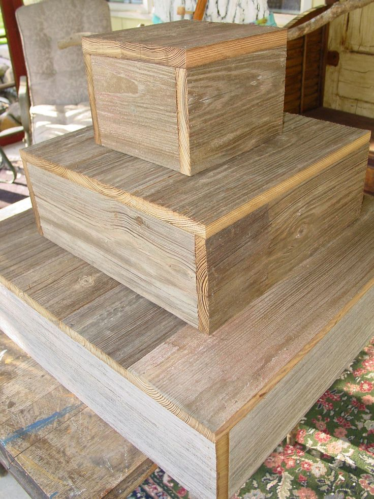 3 tier wood cake stand rustic wedding cupcake Box Plate Barn wood Primitive Reclaimed Marriage Vintage Wedding country.