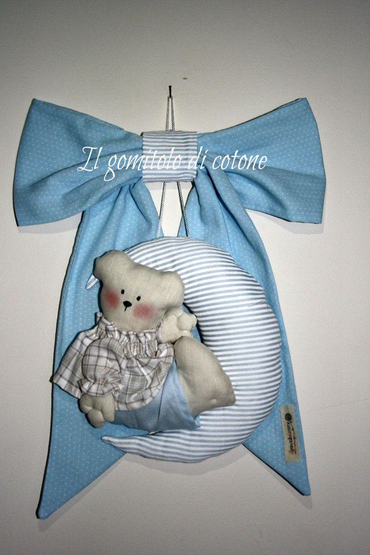 Fiocco nascita orsetto sulla luna di IlGomitoloDiCotone su Etsy
