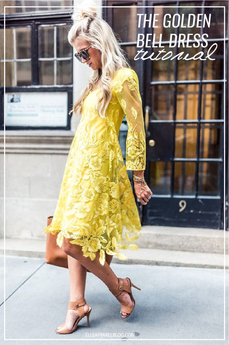 The Golden Yellow Bell Sleeve Lace Dress Tutorial.