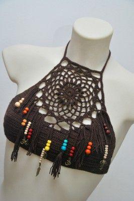 jack sparrow style crochet halter crop top bra