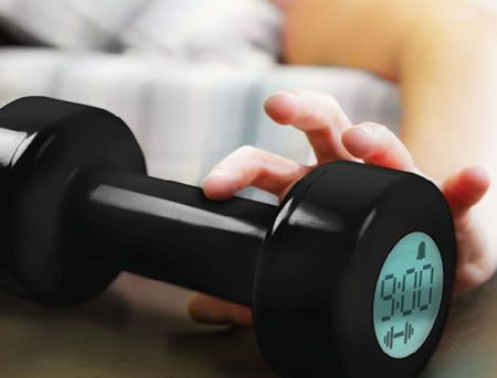 Dumbell Alarm Clock (you need to lift 30 times to shut it off). It transformed me into an early riser mostly because it's such a pain to shut off, it's finicky and it takes concentration to see if it's counting fairly each time you lift. I don't think it's doing much for my muscles (it's pretty light), but it's an excellent alarm clock. I love it! (mine's a cheap Asian brand complete with charming Engrish instructions)