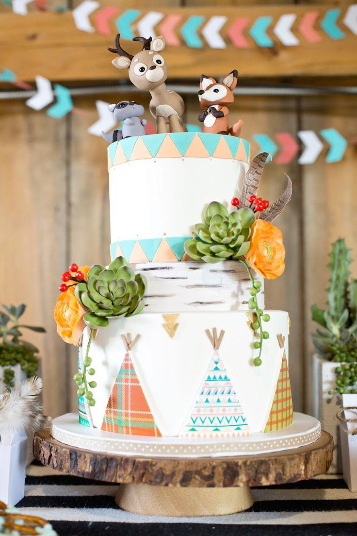 birthdayparty, whimsical, teepee, birthdaycake,