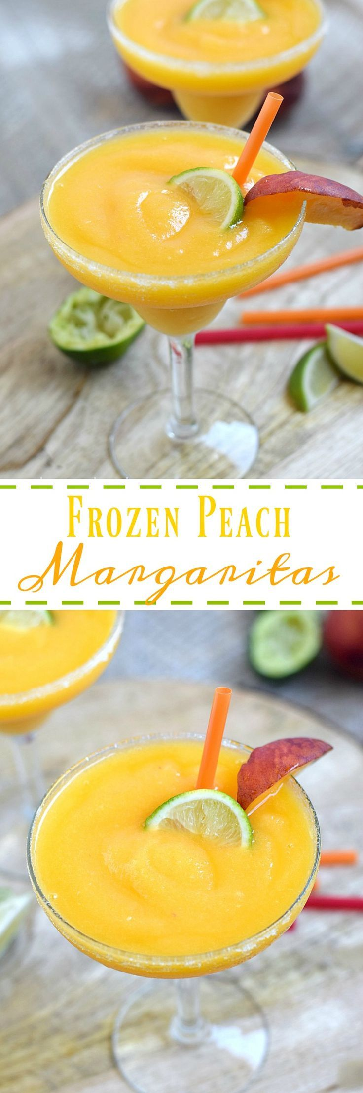 Hot summer nights call for for a refreshing drink, and these Frozen Peach Margaritas are perfect for any occasion | cookingwithcurls.com