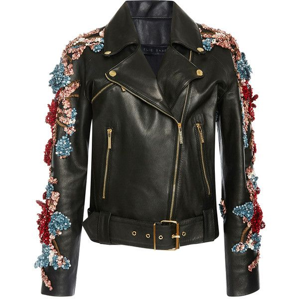 Elie Saab Embellished Leather Jacket (6'215 CHF) ❤ liked on Polyvore featuring outerwear, jackets, leather jacket, elie saab, coats & jackets, embroidered jacket, 100 leather jacket, leather jackets and embroidered leather jacket