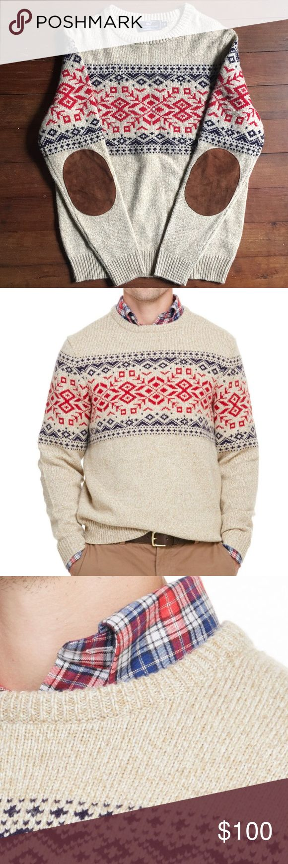 Vineyard Vines Sweater This Rag Fair Isle Sweater with elbow pads from vineyard vines is perfect for those chilly nights! This sweater has never been worn!  Fabrics: · 40% merino wool, 30% acrylic, 15% vicose, 15% nylon  Features: · Rib trim on cuffs and  http://bellanblue.com