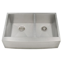 Ticor S4401 Zero Radius 33 inches Apron Farmhouse Double-Bowl Curved Front 16-Gauge Stainless Steel Kitchen Sink This durable sink will bring a simple elegance into any kitchen. The two large square basins are designed to make working in your kitchen or bar easy and efficient. Every Ticor sink is manufactured with an excellent sound-dampening system that absorbs and reduces the noise made by a garbage disposal running water and any vibration caused from dropping dishes or silverware in the…